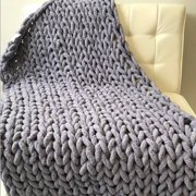 Luxury Chunky Knit Throw Blanket (59''x47'') - Large Cable Knitted Soft Skin-friendly Chenille Bulky Blankets
