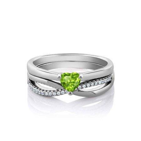 Shape Peridot Pendant Set (0.80 Ct Heart Shape Green Peridot 925 Sterling Silver Engagement Ring)