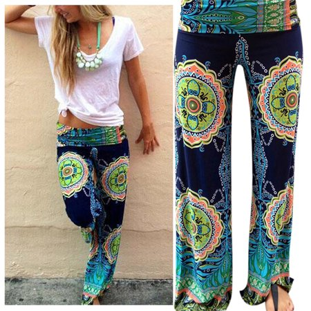 Women's Casual Middle Waist Retro Flare Flower Printing Wide Leg Pants
