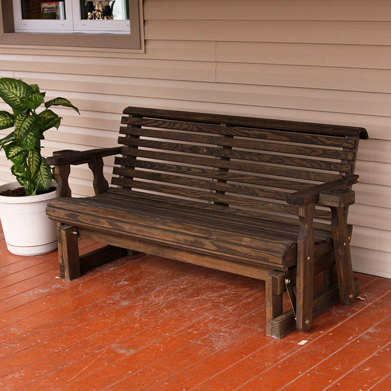 Amish Heavy Duty 800 Lb Roll Back Pressure Treated Porch Patio Garden Lawn Outdoor GLIDER with cup holders-4 Feet-BLACK-Made in USA