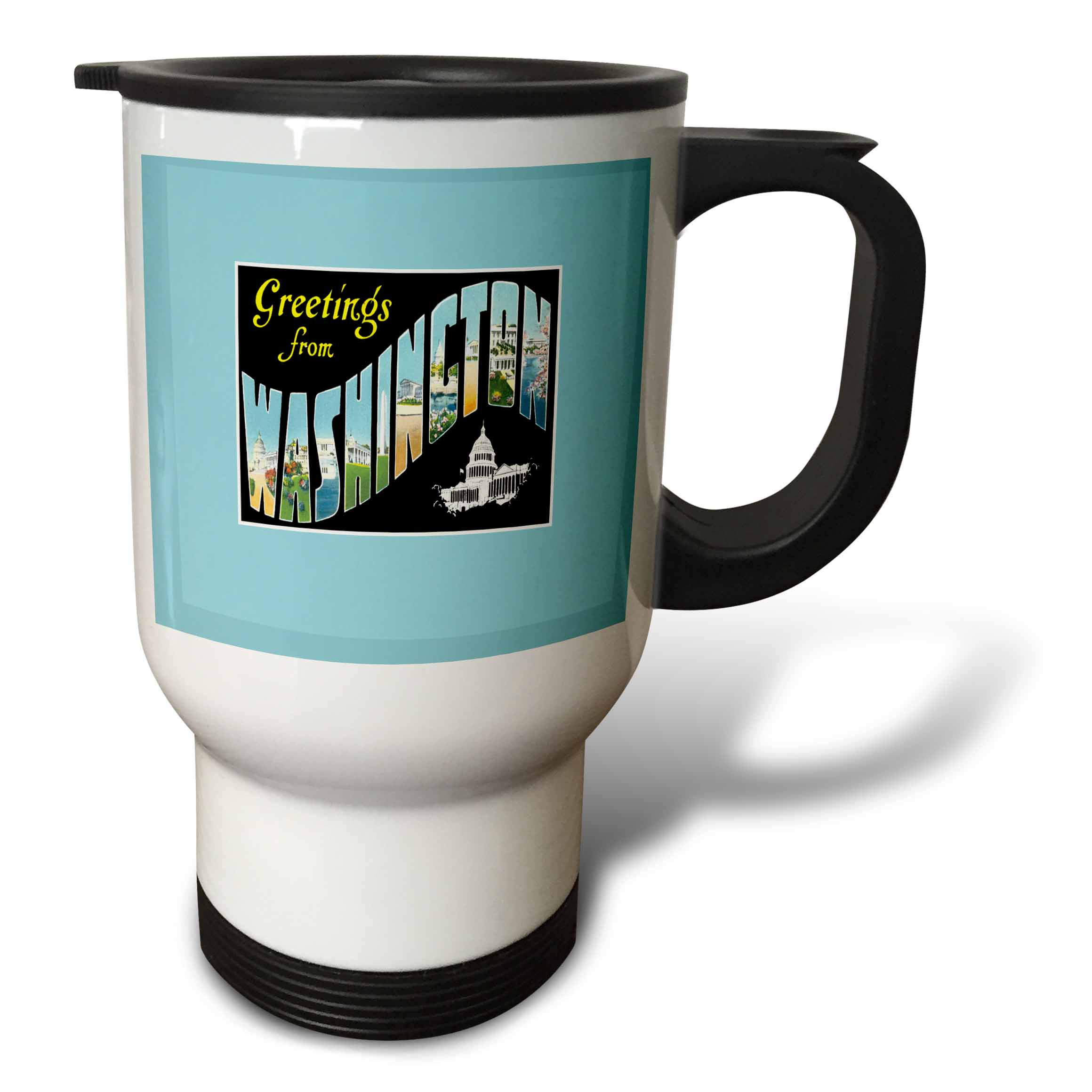 3dRose Greetings from Washington DC Scenic Postcard Reproduction, Travel Mug, 14oz, Stainless Steel