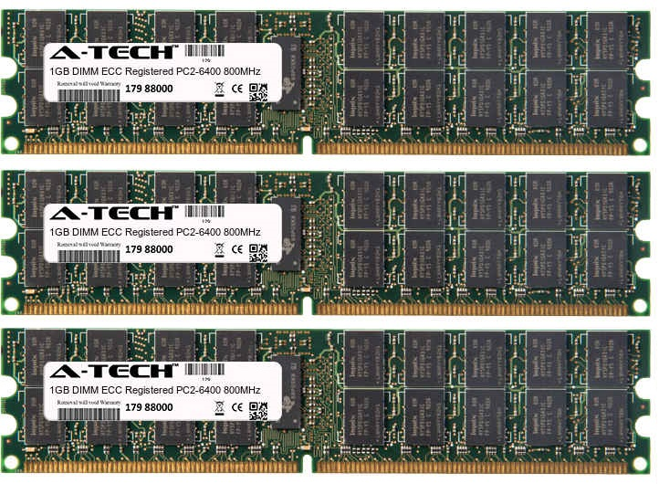 3GB Kit 3x 1GB Modules PC2-6400 800MHz ECC Registered DDR2 DIMM Server 240-pin Memory Ram