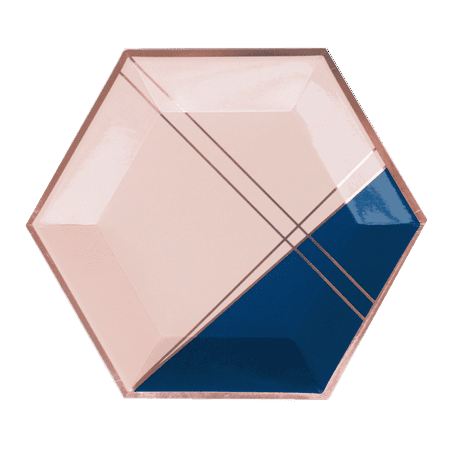 "Harlow & Grey, Erika Pale Pink, Navy and Rose Gold Foil Colorblock Large Paper Plates, Hexagon, 10.5"", 8 Count"