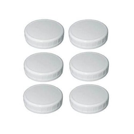 . Wide Mouth Mason Jar Plastic Storage Caps 6 Pieces, White, 6 pieces, 2.75 (70mm) inches size, wide mouth caps, white By Sunshine Mason Co,USA](Plastic Mason Jar Lids)