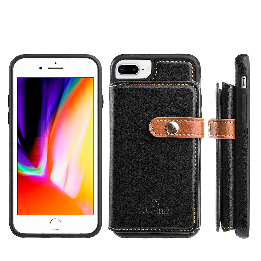 Luxmo Case for iPhone 6/7/8 Plus The Heritage Leather Cases With Attached Tri-Fold Wallet - Navy Blue