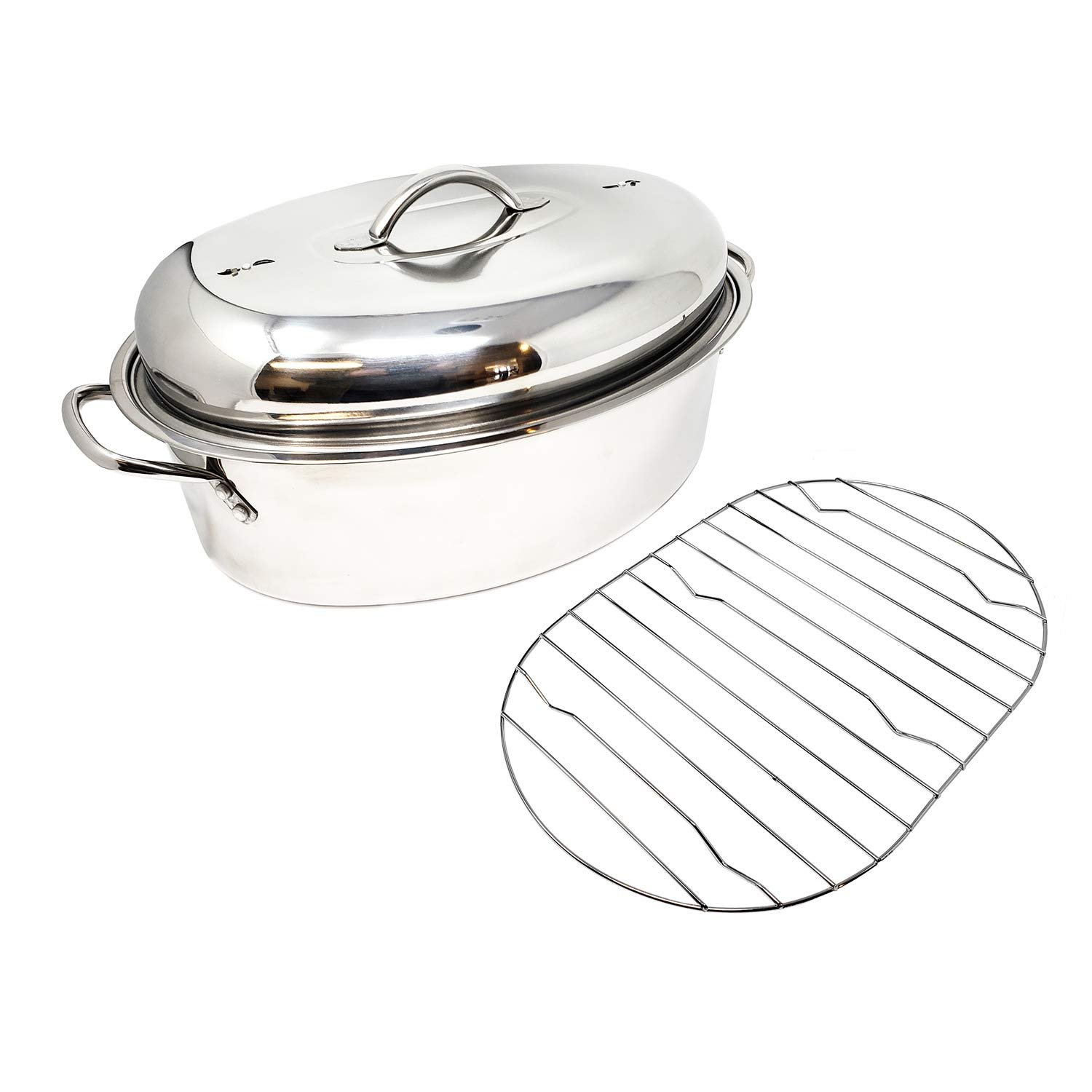 Extra Large Professional Stainless Steel Oval Roaster Serving Tray Set | With Induction Lid & Wire Rack | Multi-Purpose Oven Cookware High Dome | Meat Joints Chicken Vegetables 9.5 Quart Capacity