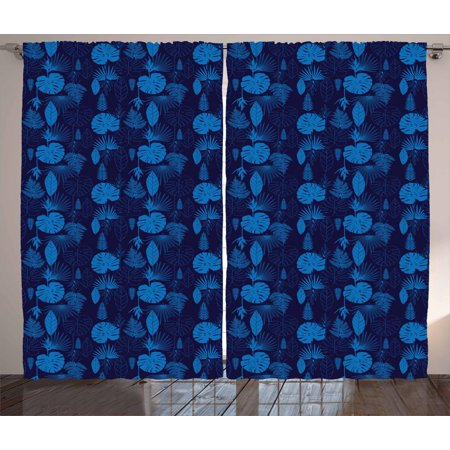 Exotic Curtains 2 Panels Set, Artsy Tropical Plants Palm Tree Leaves Jungle Leafage Botanical Hawaii Theme, Window Drapes for Living Room Bedroom, 108W X 84L Inches, Cobalt Blue Indigo, by Ambesonne - Hawaiian Themed Bedrooms