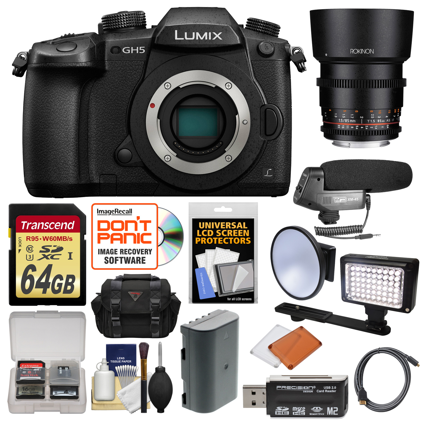 Panasonic Lumix DC-GH5 Wi-Fi 4K Digital Camera Body with 12-35mm Lens + 64GB Card + Backpack + Flash + Battery... by Panasonic