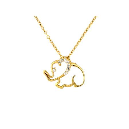 CZ 18kt Gold over Sterling Silver Outlined Elephant Pendant, 18