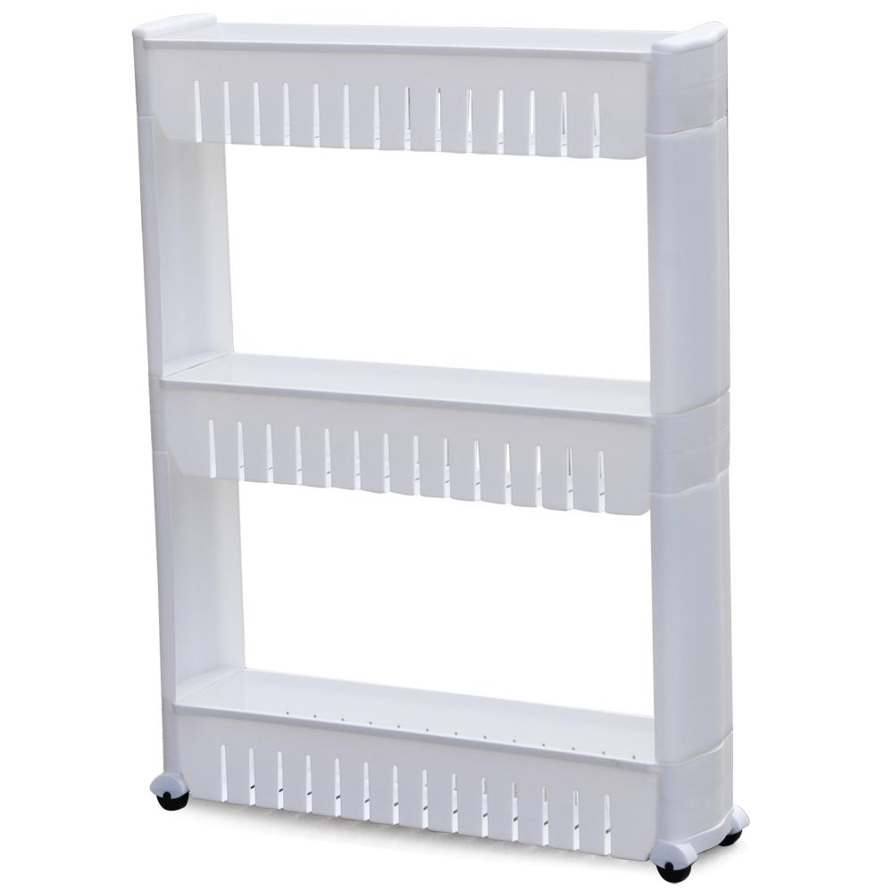 White Kitchen Trolley topeakmart 3 tier rolling castor kitchen trolley spice rack white