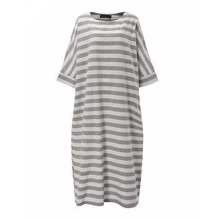 Women's Round Neck Half Sleeve Striped Sleepwear Maxi Dresses