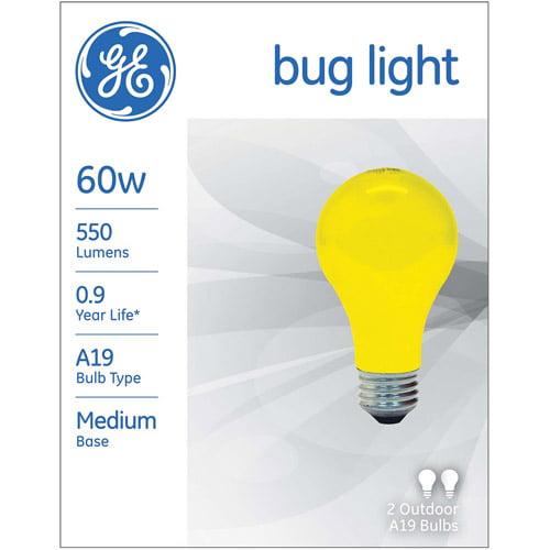 GE 60-Watt A19 Bug Light, 2-Pack
