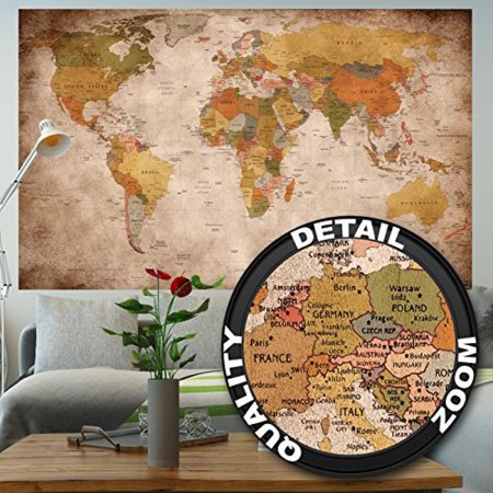 Wallpaper used look – wall picture decoration Globe Continents Atlas ...