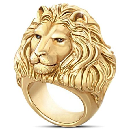 KABOER Magnificent 18K Solid Gold Mens Ring African Grassland Lion Diamond Jewelry Fatherand#39;S Day Anniversary Gift Men Hip Hop King Rings For Him Boyfriend Father Christmas Gifts Size 6-13 ()