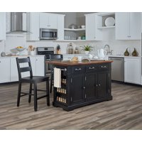 Country Kitchen Island with Drop Leaf and 2 Stools in Black