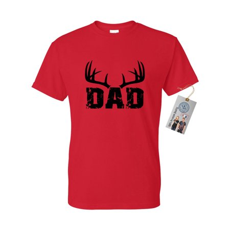 Dad Deer Antlers Dad Gifts Fathers Day Mens Short Sleeve T-Shirt