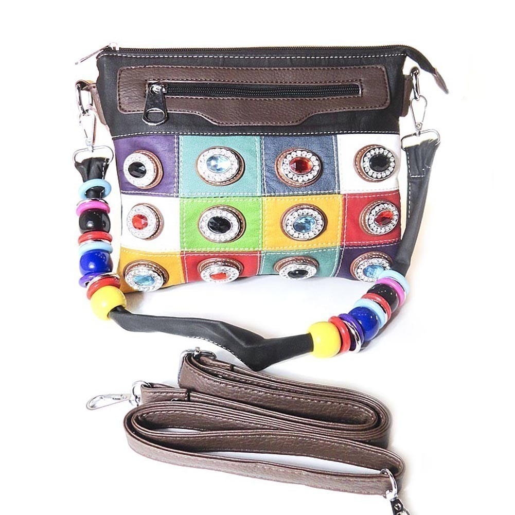 Girls Black Faux Leather Multi Color Stone Embellished Beaded Messenger Bag