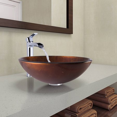 Vigo Russet Glass Vessel Bathroom Sink and Niko Faucet Set in Chrome