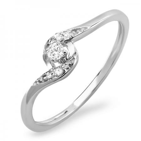 Dazzlingrock Collection 0.08 Carat (ctw) 18K Round Diamond Ladies Bridal Engagement Ring 1/10 CT, White Gold, Size 9