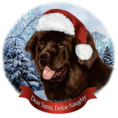 Holiday Pet Gifts Chocolate Newfoundland Santa Hat Dog Porcelain Christmas Tree Ornament