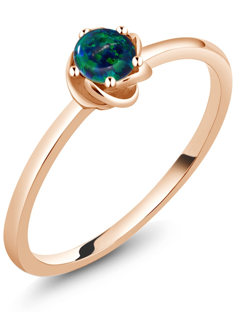 10K Rose Gold Solitaire Ring 0.25 Ct Round Cabochon Green Simulated Opal by
