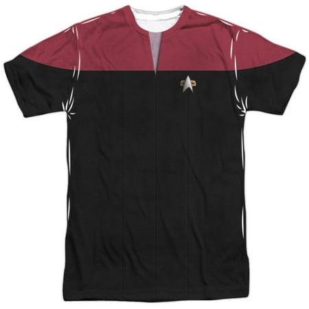 Star Trek Voyager Command Uniform Mens Sublimation Shirt (Star Trek Voyager Uniform Colors)