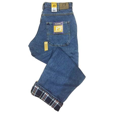 Full Blue Men's 5 Pocket Flannel Lined Jeans - Light