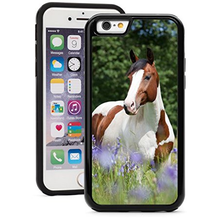 For Apple iPhone Shockproof Impact Hard Soft Case Cover Paint Horse In Blooming Meadow (Black for iPhone 8 Plus)