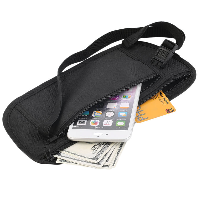 Travel Pouch Cash Zippered Waist Compact Security Money Waist Belt Bag