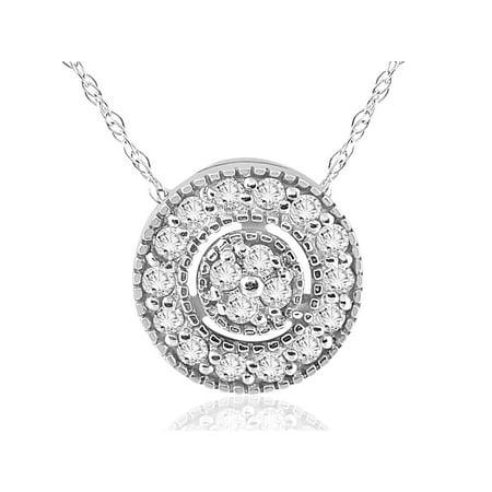 1/4 ct Diamond Pave Halo Pendant 14K White Gold Womens Necklace & 18