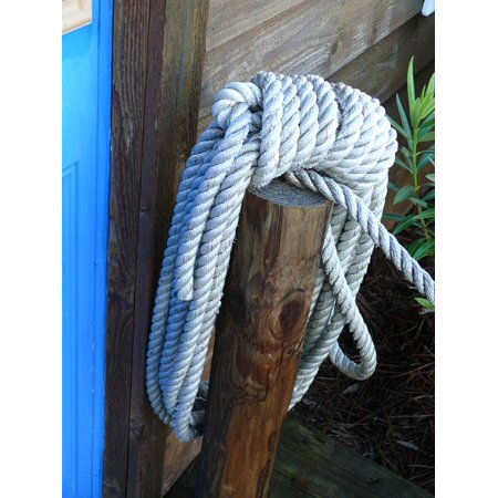 LAMINATED POSTER Rope Marine Nautical Line Tied Wood Pier Knot Poster 24x16 Adhesive Decal - Nautical Tie