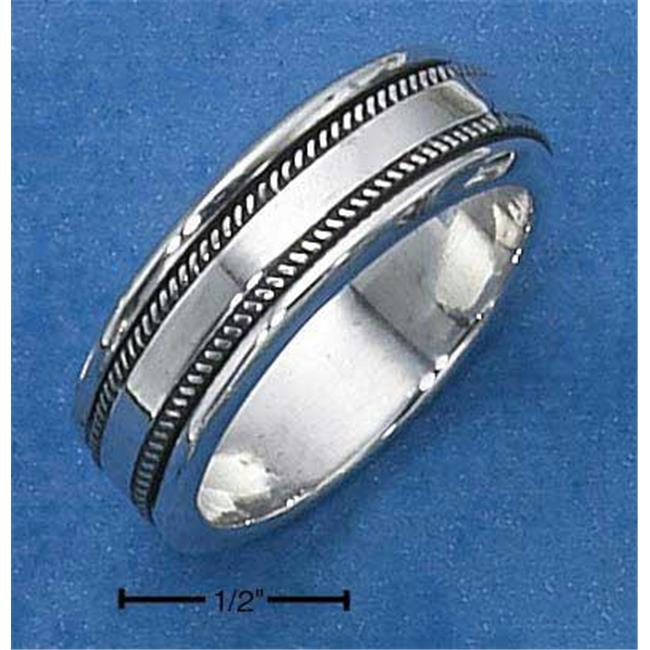 Sterling Silver Mens Worry Ring with Coin Edge Spinning Band - Size 13