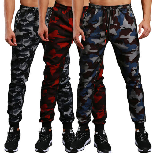 Men/'s Sweat Pants Cargo Jogging Trousers Camouflage Sport Army Military Pockets