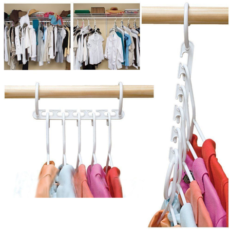 8 Pack Closet Space Saving Hangers, Multi-Purpose Hangers Cascading Hanger Updated Hook Design Wonder Hangers for Organizing Wardrobe Clothing Hanger - image 3 of 8