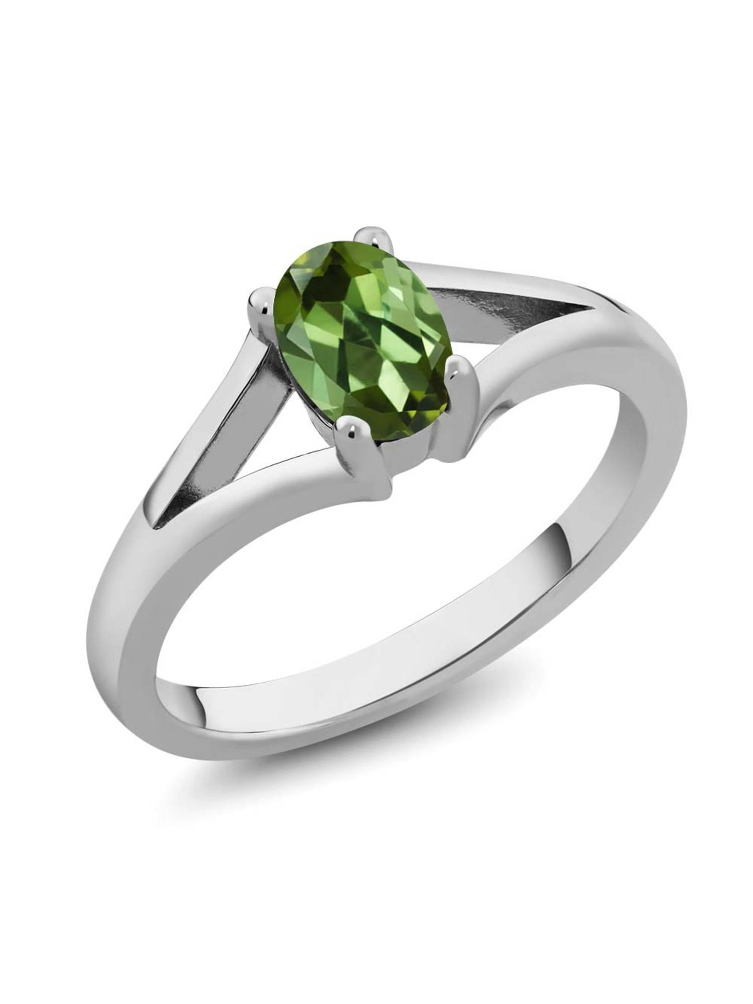0.85 Ct 7x5mm Oval Green Tourmaline 925 Sterling Silver Solitaire Ring by