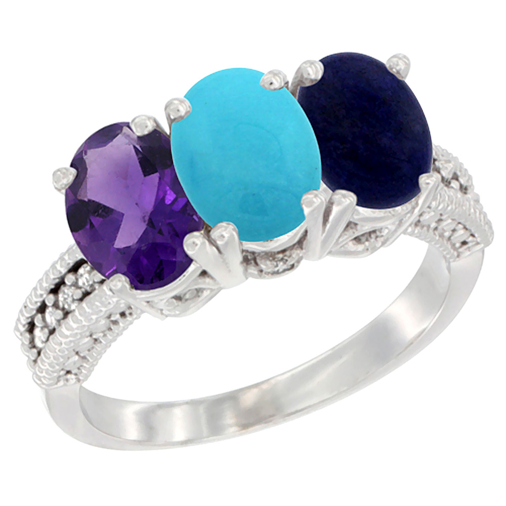 10K White Gold Natural Amethyst, Turquoise & Lapis Ring 3-Stone Oval 7x5 mm Diamond Accent, sizes 5 10 by WorldJewels