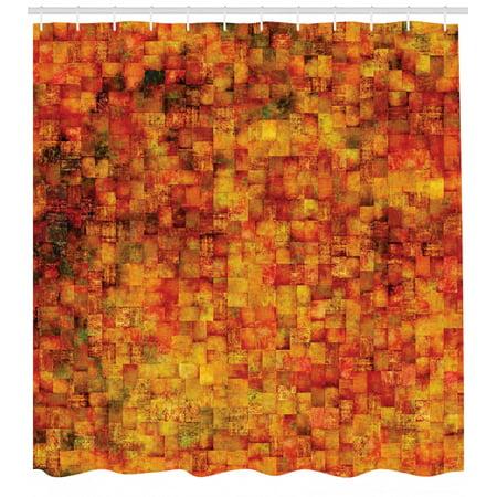 Burnt Orange Shower Curtain, Vintage Mosaic Background Quadratic Little Geometric Squares Faded Print, Fabric Bathroom Set with Hooks, Orange Mustard, by