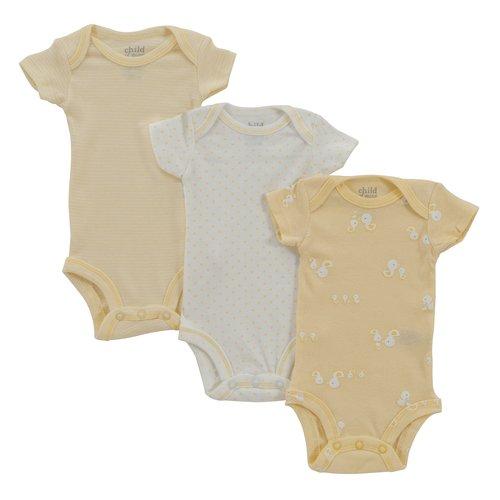 Child of Mine Short Sleeve Duck Print, Star Print and Mini Stripe Bodysuits, Neutral, 3-Pack