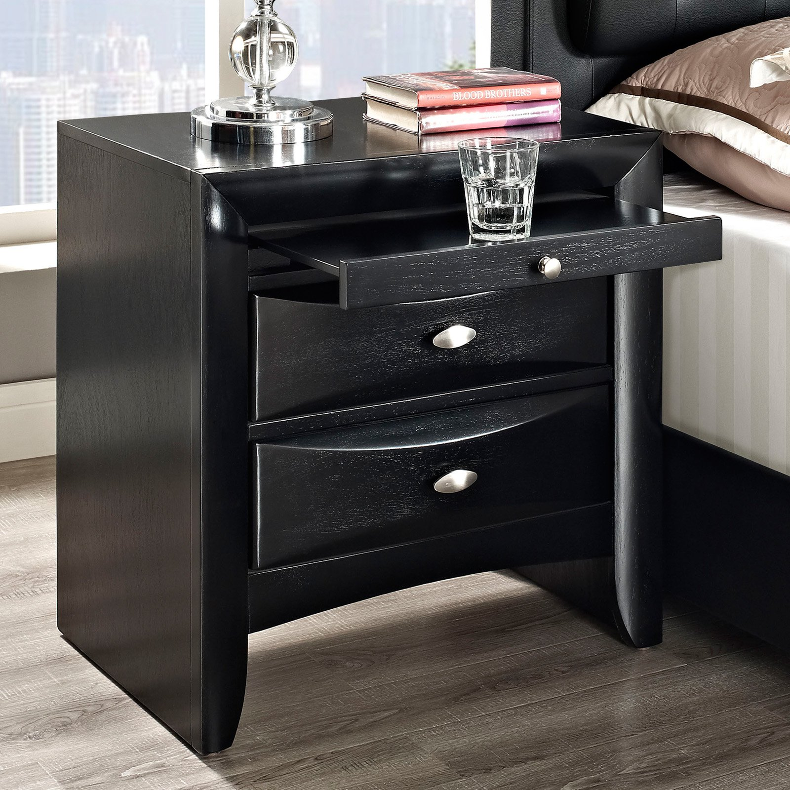 Modway Harrison Contemporary 2-Drawer Nightstand in Black