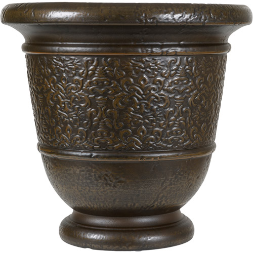 "Better Homes and Gardens Westminster 20"" Decorative Resin Urn, Bronze"