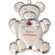 Silvertone Dapped Teddy Bear Ornament