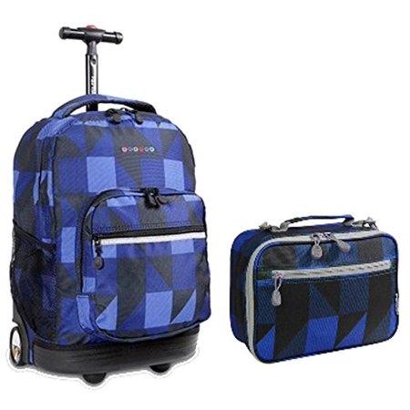 e550ca4adb J World New York - J World Block Navy Sunrise Roller Backpack Back Pack and Cody  Lunch Bag Bundle Set - Walmart.com
