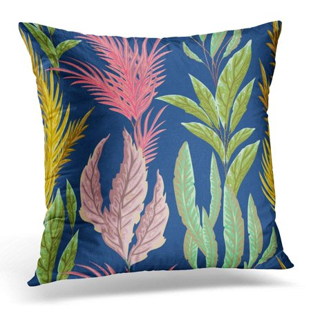 ARHOME Blue Nautical with Marine Plants Leaves and Seaweed Flora in Watercolor Style Coral Pillow Case Pillow Cover 20x20 - Coral Leaf