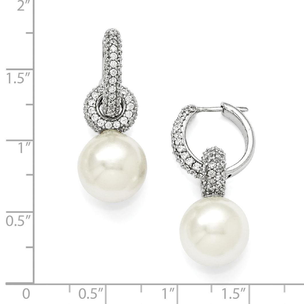 Sterlingmajestik Rh Pl 13mm Wht Imitat Sea Shell Mermaid Nautical Jewelry Pearl Cubic Zirconia Cz Hoop Earrings Ear Hoops Set Drop Dangle Fashion Jewelry Gifts For Women For Her - image 1 of 2