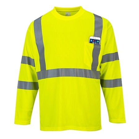 Portwest S191 Large Hi-Visibility Long Sleeved T-Shirt, Yellow - Regular - image 1 of 1