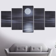 5Pcs Large Moon Water Surface Light Style Frameless Canvas Oil Painting Modern Abstract Canvas Wall Art Painting Moonlit Night Picture Prints for Home Offices Decor Gift