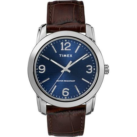 Timex Men's Core 39mm Silver-Tone/Blue Watch, Brown Croco Pattern Leather Strap (Croco Leather Strap Dress)