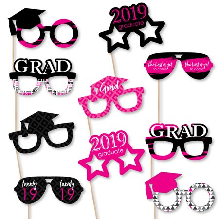 Pink Grad - Best is Yet to Come - Glasses - Pink 2019 Paper Card Stock Graduation Photo Booth Props Kit - 10