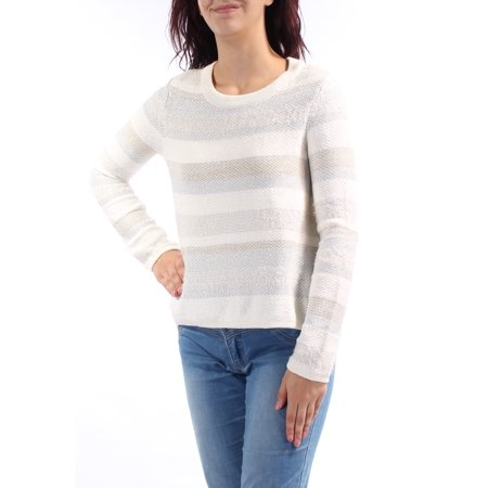 KIIND OF Womens Ivory Glitter Striped Long Sleeve Jewel Neck Sweater  Size: -