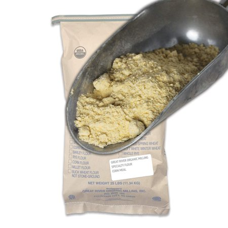 Great River Organic Milling, Specialty Flour, Corn Meal, Stone Ground, Organic, Non-GMO, 25-Pounds (Pack of 1) -  Great River Milling